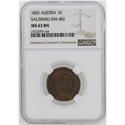 1802 Austria Salzburg Kreuzer Coin NGC MS62BN