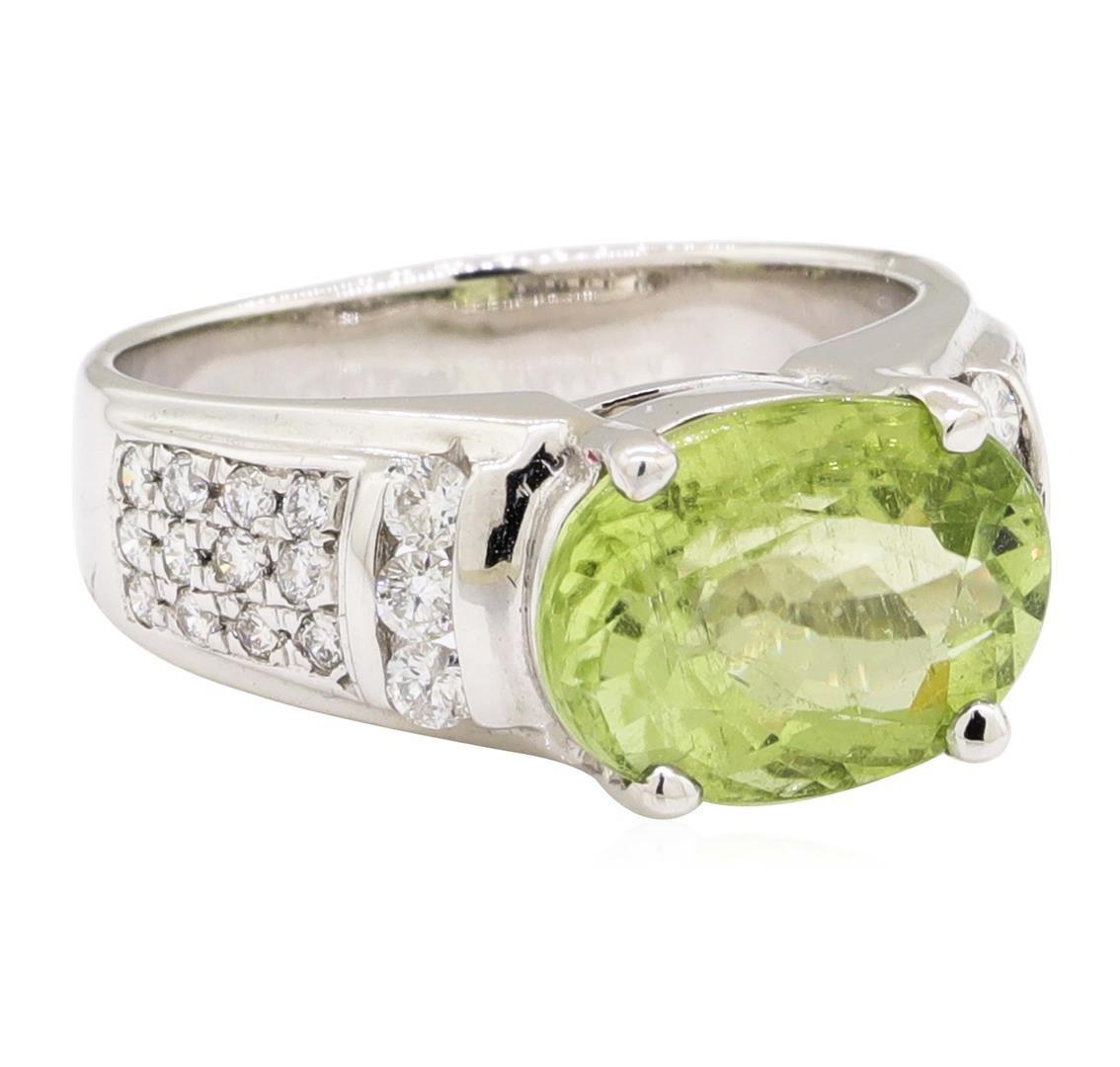4db8f27f8 Image 1 : 4.80 ctw Green Tourmaline And Diamond Ring - 14KT White Gold ...