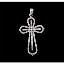 1.00 ctw Diamond Cross Pendant - 14KT White Gold