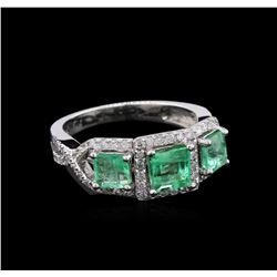 1.40 ctw Emerald and Diamond Ring- 14KT White Gold
