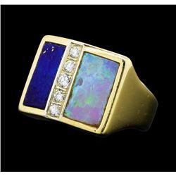 0.15 ctw Diamond, Opal and Lapis Lazuli Ring - 14KT Yellow Gold