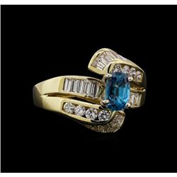2.17 ctw Blue Zircon and Diamond Ring - 14KT Yellow Gold