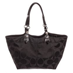 Coach Black Monogram Canvas Patent Leather Trim Tote Bag
