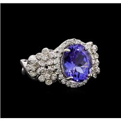 14KT White Gold 4.31 ctw Tanzanite and Diamond Ring