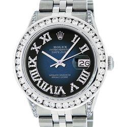 Rolex Mens Stainless Steel Blue Vignette Roman Diamond Datejust Wristwatch With