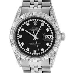 Rolex Mens Stainless Steel Black Diamond Lugs & Pyramid Bezel Datejust Wristwatc
