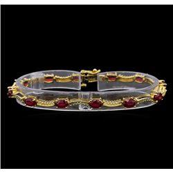 14KT Yellow Gold 7.45 ctw Ruby and Diamond Bracelet