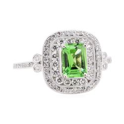 1.21 ctw Tsavorite and Diamond Ring - Platinum