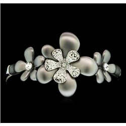 Flower Hand Painted Bracelet - Rhodium Plated