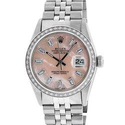 Rolex Mens Stainless Steel Baguette Diamond 36MM Datejust Wristwatch