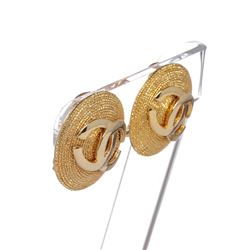 Chanel Gold CC Disc Clip On Earrings