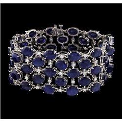 93.96 ctw Sapphire and Diamond Bracelet - 14KT White Gold