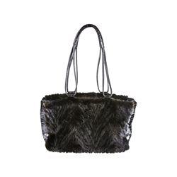 Paolo Masi Vintage Italian Black Mink Fur Leather Shoulder Bag Purse