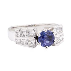 0.85 ctw Sapphire and Diamond Ring - 14KT White Gold