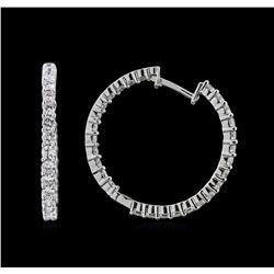 1.64 ctw Diamond Hoop Earrings - 14KT White Gold