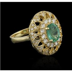 1.64 ctw Emerald and Diamond Ring - 14KT Yellow Gold