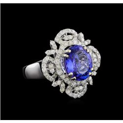 3.76 ctw Tanzanite and Diamond Ring - 14KT White Gold