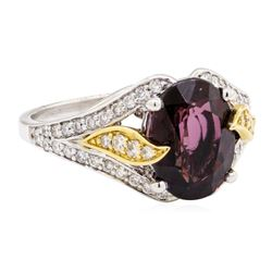4.11 ctw Red Spinel And Diamond Ring - 18KT White And Yellow Gold