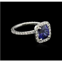 2.80 ctw Blue Sapphire and Diamond Ring - 14KT White Gold