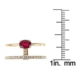 0.62 ctw Ruby and Diamond Ring - 18KT Yellow Gold