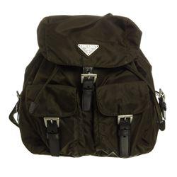 Prada Dark Green Nylon Drawstring Small Backpack Bag