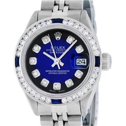Rolex Ladies Stainless Steel Blue Vignette Diamond & Sapphire Datejust Wristwatc