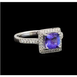 18KT White Gold 1.52 ctw Tanzanite and Diamond Ring