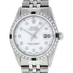Rolex Mens Stainless Steel White Diamond & Emerald 36MM Datejust Wristwatch