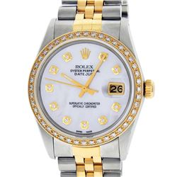 Rolex Mens 2 Tone 14K Mother Of Pearl Diamond 36MM Datejust Wriswatch