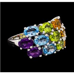 6.41 ctw Multi-color Gemstone Ring - 14KT White Gold