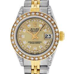 Rolex Ladies 2 Tone 14K Champagne Diamond Lugs Datejust Wristwatch