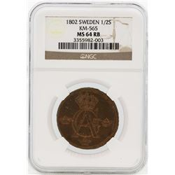 1802 Sweden 1/2 Skilling Coin NGC MS64RB