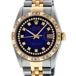 Rolex Mens 2 Tone 14K Blue Vignette String Pyramid Diamond Datejust Wristwatch