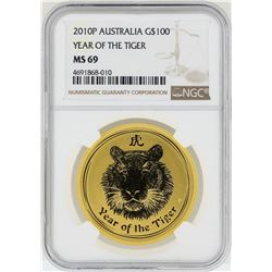 2010-P $100 Australia Year of the Tiger Gold Coin NGC MS69