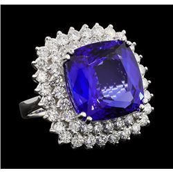 GIA Cert 16.92 ctw Tanzanite and Diamond Ring - 14KT White Gold