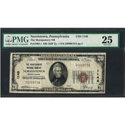 1929 $20 National Currency Note Montgomery, Pennsylvania CH# 1148 PMG Very Fine