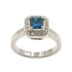 1.04 ctw Blue and White Diamond Ring - 18KT White Gold