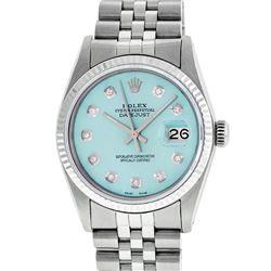 Rolex Mens Stainless Steel Ice Blue Diamond 36MM Datejust Wristwatch