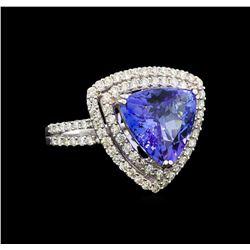 18KT White Gold 5.22 ctw Tanzanite and Diamond Ring