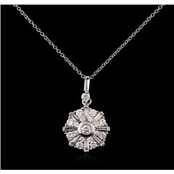 14KT White Gold 1.00 ctw Diamond Pendant With Chain