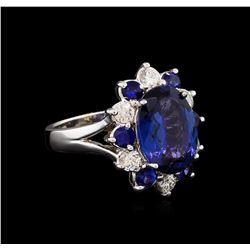 4.70 ctw Tanzanite, Sapphire and Diamond Ring - 14KT White Gold