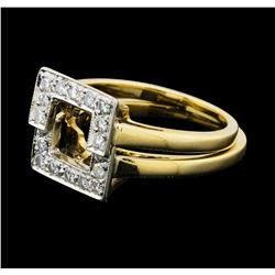 0.50 ctw Diamond Interlocking Rings - 14KT Yellow Gold