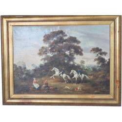 Original Mid 19thc Signed Oil Painting, French Cavalry Approaching Castle