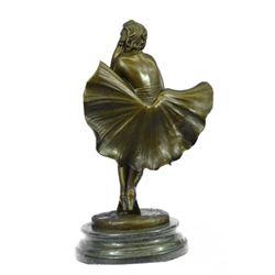 """Fashion Model Skirt Blowing in Wind Marilyn Monroe Bronze Sculpture 13"""" x 7.5"""""""