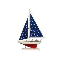 "Wooden Patriotic Sailer Model Sailboat Decoration 17"""