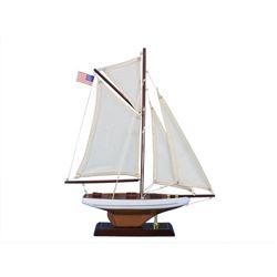 "Wooden Columbia Model Sailboat Decoration 16"""