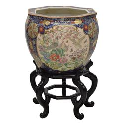 Chinese Famille Rose Parcel Gilt 8 Sided Fish Bowl