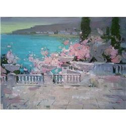 ORIGINAL OIL PAINTING Plein Air Evening Seascape Rosy blooming Spring sunset