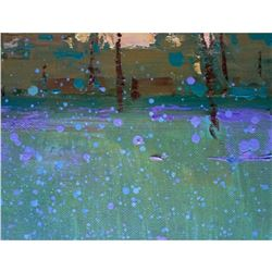 Impressionism OIL PAINTING GREEN FOREST Plein Air SUNSET Small Trees Landscape