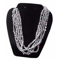 Fabulous, Multi Strand White Rice Pearl Choker / Necklace